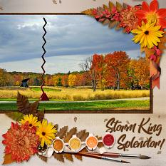 """Storm King Splendor"" digital scrapbook layout by Laura Louie uses:"