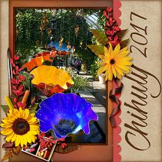 """""""Chihuly 2017"""" digital scrapbook layout by Laura Louie"""