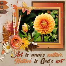 """""""Nature is God's Art"""" digital scrapbook layout by Laura Louie"""