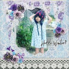 """Hello Winter?"" digital scrapbook layout by Andrea Hutton"