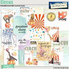 Circus Embellishment Mini Journal Cards by Aftermidnight Design
