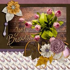 """Just Because"" digital scrapbook layout by Laura Louie"