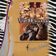 """Walking"" digital scrapbook layout showcases ScrapSimple Digital Layout Templates: Two Curvy"