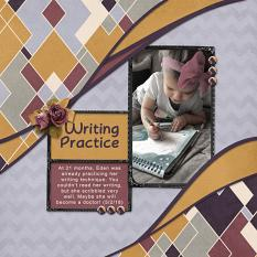 """Writing Practice"" digital scrapbook layout showcases ScrapSimple Digital Layout Templates: Two Curvy"
