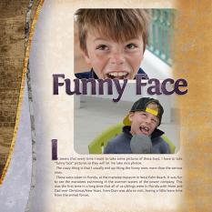 """Funny Face"" digital scrapbook layout features ScrapSimple Digital Layout Templates: Two Curvy"