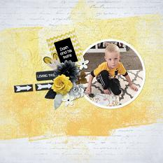 """Dash and his Trains"" digital scrapbook layout by Andrea Hutton"
