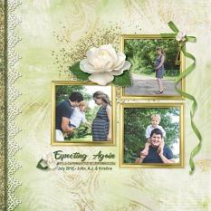 """Expecting Again"" digital scrapbook layout by Sue Maravelas"