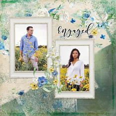 """Engaged"" digital scrapbook layout by Andrea Hutton"