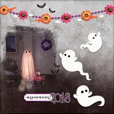 """Halloween 2018"" digital scrapbook layout by Andrea Hutton"
