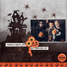 """Ghouls Night Out"" digital scrapbook layout by Carmel Munro"