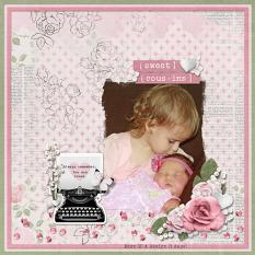 """Sweet Cousins"" digital scrapbook layout by Sue Maravelas"