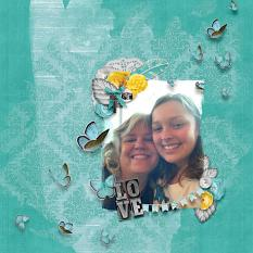 """Love"" digital scrapbook layout by Debby Leonard"