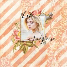 Scrapbook layout created using Vintage Floral embellishment Clusters