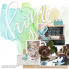 Scrapbook page uses Dream Big watercolor paper textures and masks