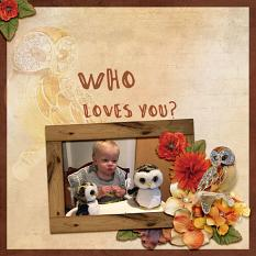 """Who Loves You"" digital scrapbook layout by Debby Leonard"