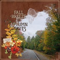 """Fall Breeze & Autumn Leaves"" digital scrapbook layout by Andrea Hutton"