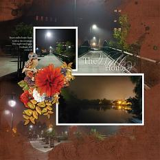 """""""The Walk Home"""" digital scrapbook layout by Andrea Hutton"""