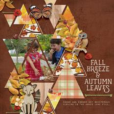 """Fall Breeze & Autumn Leaves"" digital scrapbook layout by Amy Flannagan"