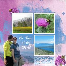 """""""On Top of the World"""" digital scrapbook layout by Sue Maravelas"""