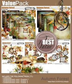 layout using Autumn Forest Embellishment Mini : Clusters Pack 3 by florju designs