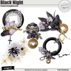 Black Night Clusters Embellishments