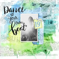 Scrapbook layout uses Art Journal - Blue Custom Layer Styles