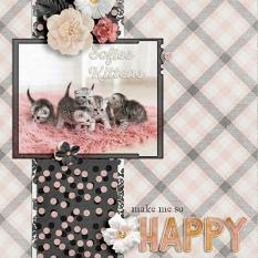 """Sofie's Kittens"" digital scrapbook layout by Darryl Beers"