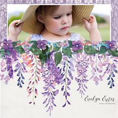 """Evelyn Ester"" digital scrapbook layout by Andrea Hutton"