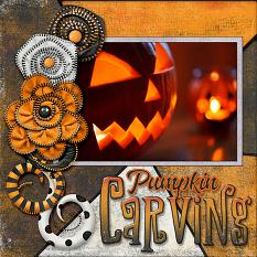 """Pumpkin Carving"" digital scrapbook layout by Laura Louie"