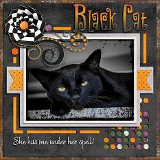 """Black Cat"" digital scrapbook layout by Laura Louie"