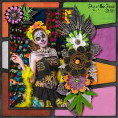 """""""Day of the Dead"""" digital scrapbook layout by Laura Louie"""