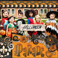 """Halloween Parade"" digital scrapbook layout by Laura Louie"