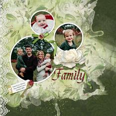 """Family"" digital scrapbook layout by Sue Maravelas"