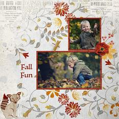 """Fall Fun"" digital scrapbook layout by Judy Webster"
