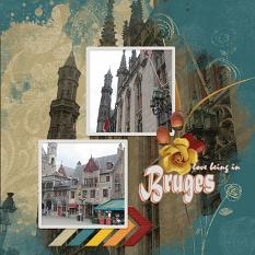 """Bruges"" digital scrapbook layout by Marie Hoorne"