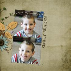 "Digital Scrapbooking Layout ""Simply Braden"" by Amanda S (see supply list with links below)"