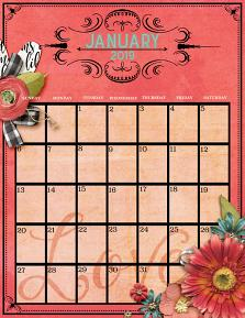 Printable calendar created with Framed - Editable Calendar Templates