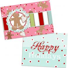 Printable cards created with Gingerbread Kisses Embellishment templates