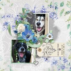 """Happy Place"" digital scrapbook layout by Amy Flanagan"