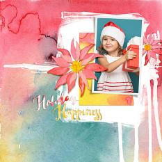 Scrapbook page uses Watercolor Holiday Custom Layer Styles samples