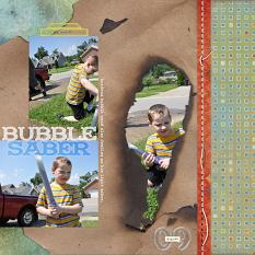 "Digital Scrapbooking Layout ""Bubble Saber"" by Amanda S (see supply list with links below)"