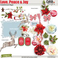 Love Peace & Joy Embellishment Biggie by DRB Designs | ScrapGirls.com