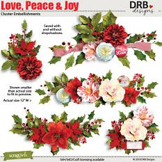 Love Peace & Joy Cluster Embellishment by DRB Designs | ScrapGirls.com