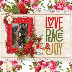 """Love Peace & Joy"" digital scrapbook layout by Andrea Hutton"
