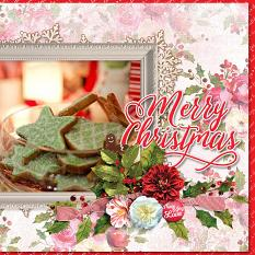 """Merry Christmas"" digital scrapbook layout by Marie Hoorne"