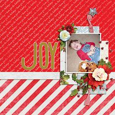 """Joy"" digital scrapbook layout by Shauna Trueblood"