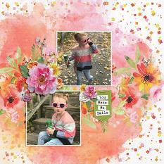 """You Make Me Smile"" digital scrapbook layout by Andrea Hutton"