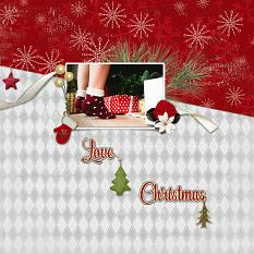 """Love Christmas"" digital scrapbooking layout using Yuletide Collection Biggie."