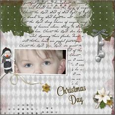 """Christmas Day"" digital scrapbooking layout using Yuletide Collection Biggie."
