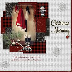 """Christmas Morning"" digital scrapbooking layout using Yuletide Collection Biggie."